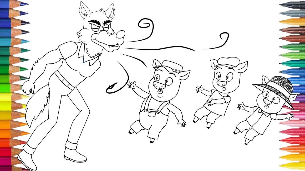 Los Tres Cerditos Y El Lobo Feroz Dibujar Y Pintar Youtube