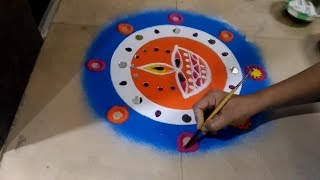 DIWALI special RANGOLI | Innovative rangoli designs दिवाली रंगोली / दीपावली रंगोली by creative hands