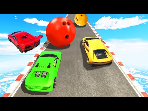 SUPERCAR Hillclimb vs. BOWLING BALLS! (GTA 5 Funny Moments)