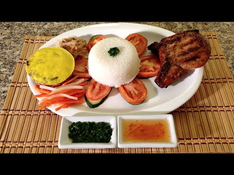 Com Tam Bi-How To Cook Vietnamese Meatloaf-Broken Rice-Asian Pork Chops-Shredded Pork Skins