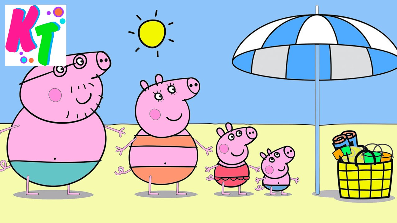 Пеппа на пляже. Новая раскраска от Kids Toys Kalash TV ...