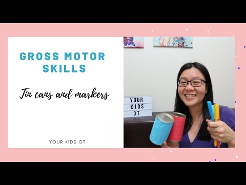 Gross Motor Skills Using Tin Cans And Markers.  Telehealth Occupational Therapy Ideas.