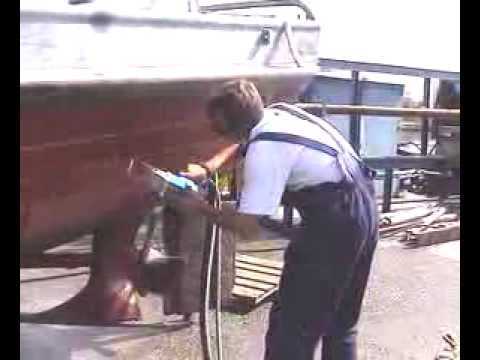 Laser Paint Stripping Boat Hull