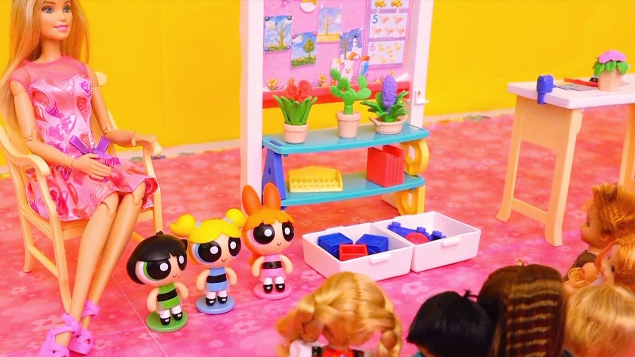 Powerpuff Girls In Barbie School Toys And Dolls Fun
