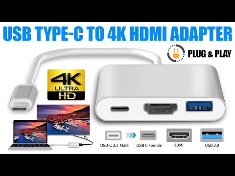 USB 3.1 Type-C to 4k HD HDMI Adapter With USB Port For Macbook Pro I Samsung