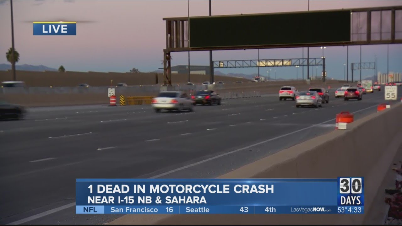 UPDATE: Motorcyclist involved in crash on I-15, Charleston dies at hospital