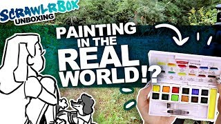 I LEFT MY DESK?! | Mystery Art Box | Scrawlrbox Unboxing | Plein Air Watercolor Painting