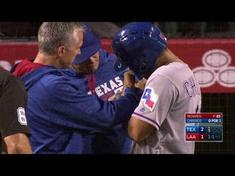 TEX@LAA: Chrinos gets hit on his swing, leaves game