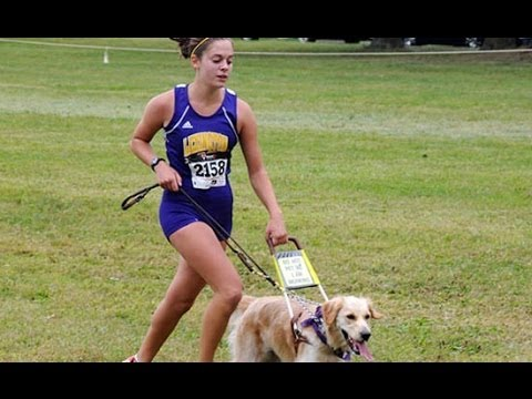 Legally blind runner and her guide dog