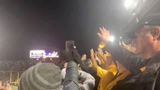 Iowa crowd waves to Children's Hospital during Penn State game