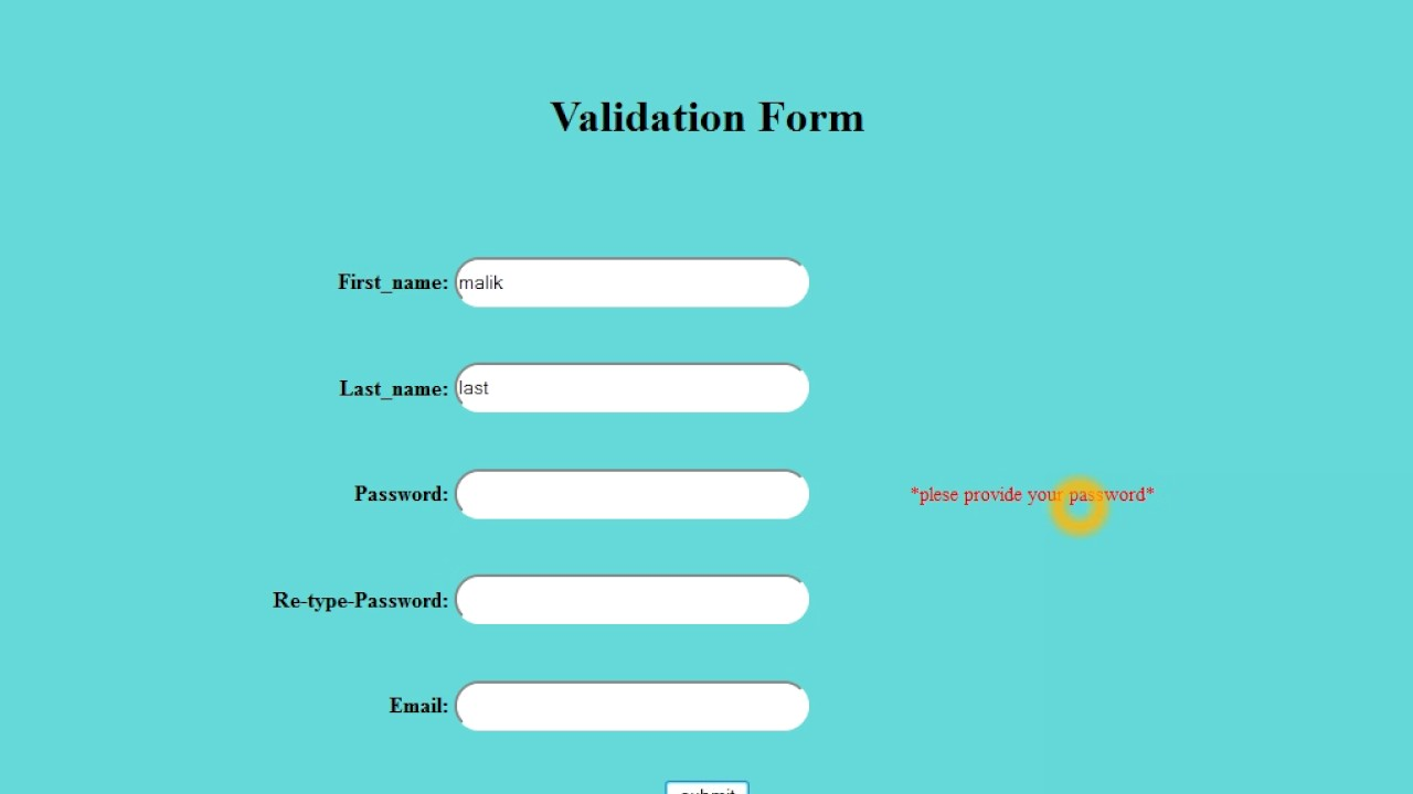 Validating a registration form using javascript on wordpress