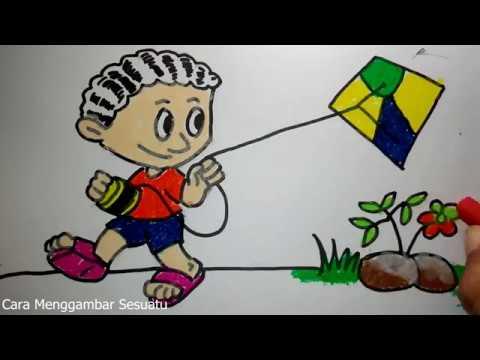 cara menggambar anak main layang layang - YouTube