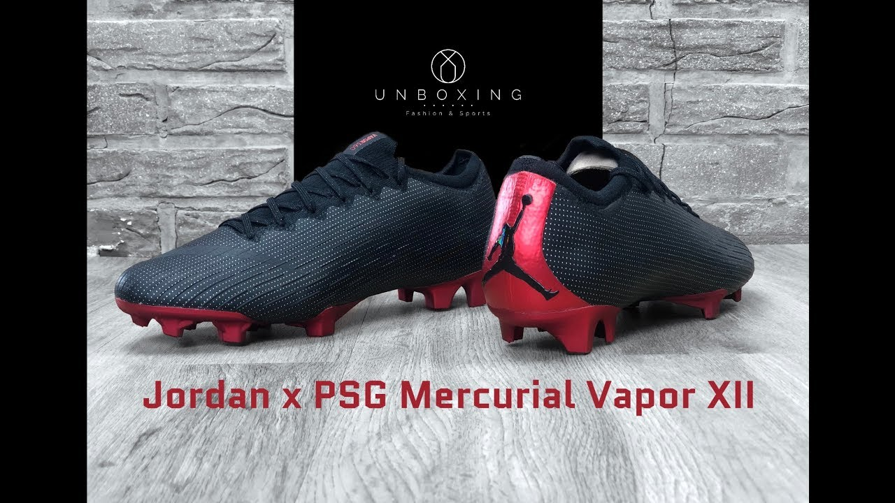 low priced 8cb85 9c2ab Jordan X PSG Vapor XII Elite SE FG 'black/black challenge red' | UNBOXING &  ON FEET | football boots