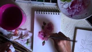 Стилизованная роза акварелью(Урок по рисованию акварелью для совместного проекта