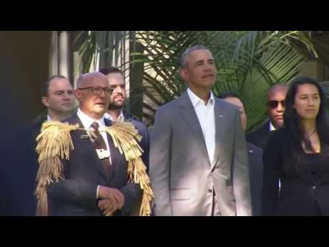 Barack Obama welcomed to Auckland with beautiful powhiri