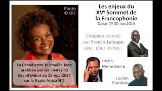 Michaëlle Jean favorite du Grand débat du 25-11-2014 sur Africa1
