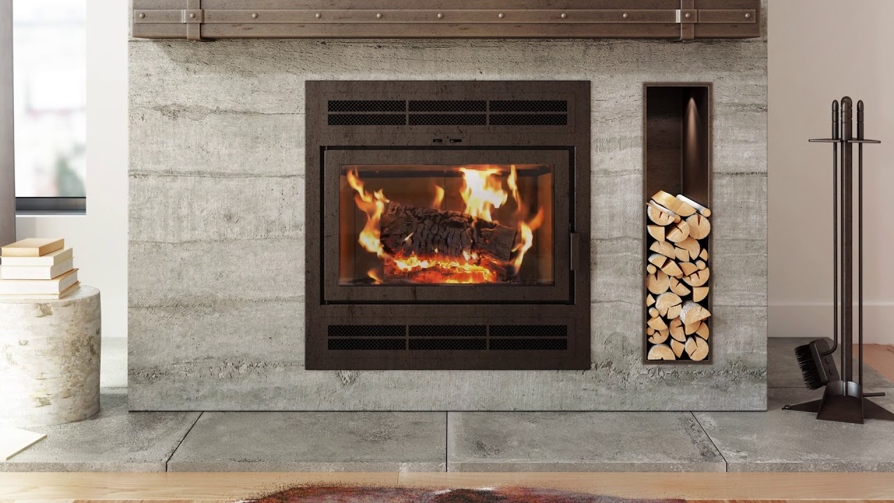 ambiance elegance 36 epa wood fireplace with rectangular door and