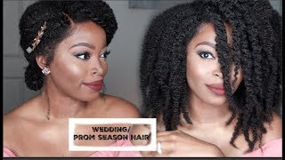 KINKY 4C Natural HAIR full lace wig: TWIST OUT| WEDDING & PROM HAIRSTYLE