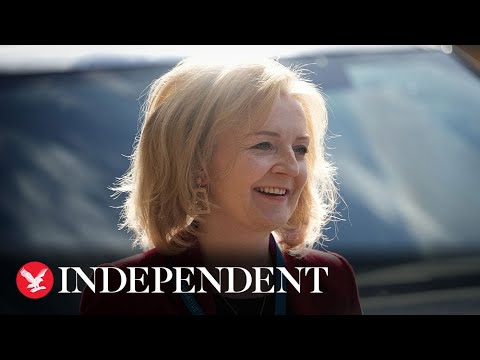 British foreign minister Liz Truss gives speech at Tory Party conference