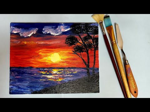 Easy Acrylic Sunset painting tutorial for beginners step by step | Sunset Acrylic Painting tutorial