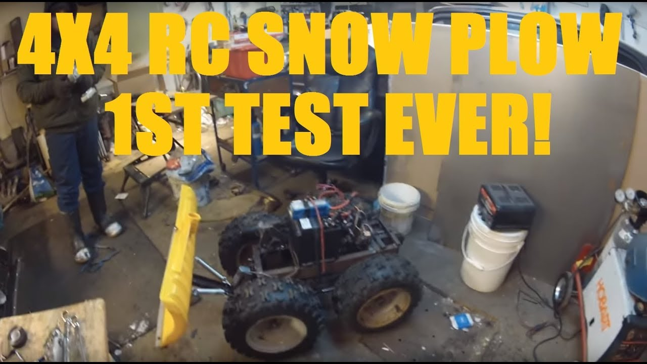 Homemade Rc 4x4 Snow Plow First Test In Light Snow Youtube
