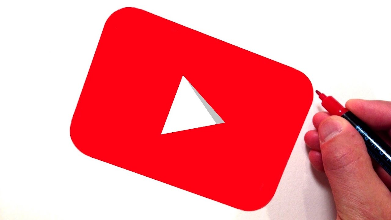 How To Draw The Youtube App Button Logo Step By Step Instructions