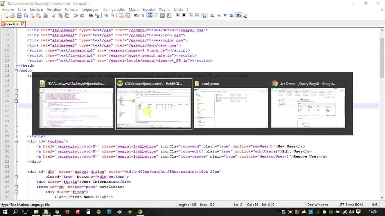 UFTM CTIT Aula 06-06-2016 PHP + MySql + Html + jQuery EasyUI - Parte 2/7