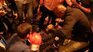 CLASS MOMENT FROM BHOP! - BERNARD HOPKINS MAKES TIME TO PLAYFULLY SPAR FAN IN WHEELCHAIR
