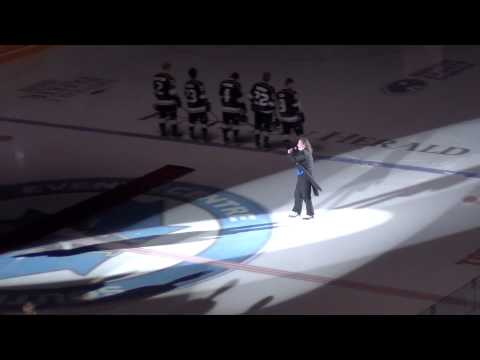 Mark Donnelly Singing The  National Anthem At The Penticton VEES Game 10-3-14