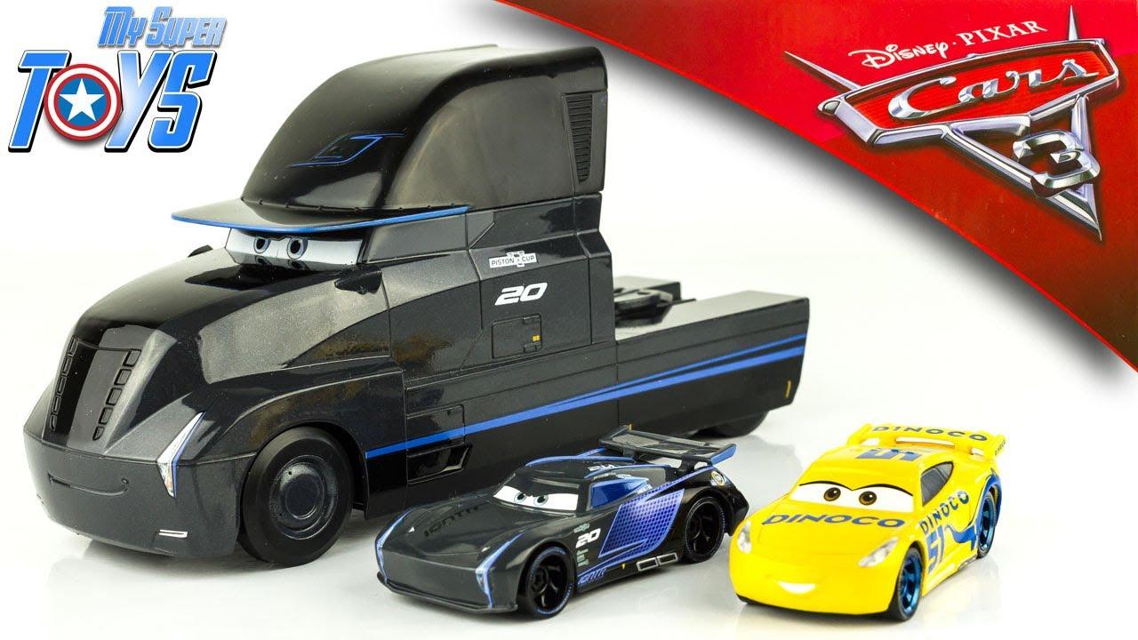 Disney Cars 3 Gale Beaufort Truck Hauler Jackson Storm Cruz Ramirez Dinoco Toy Review Youtube