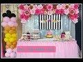 Flower Backdrop for Babyshower  and Tulle Table Skirting