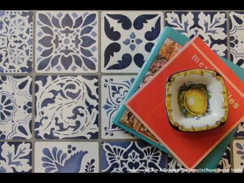 How To Stencil Tutorial Painting A Tile Vintage Table
