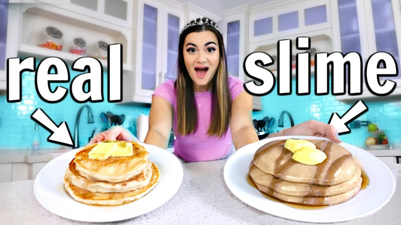 making food out of slime food vs slime challenge youtube