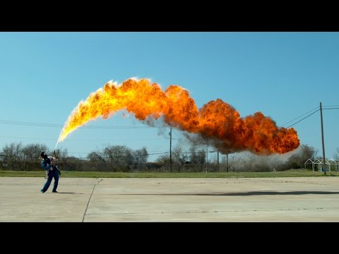 50 ft Flamethrower in 4K Slow Motion - The Slow Mo Guys