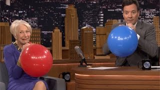Helen Mirren Accepts Award on Helium, Gets Saucy With Jimmy Fallon