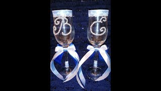 Бокалы на свадьбу, бокалы с инициалами, свадебные бокалы лентами