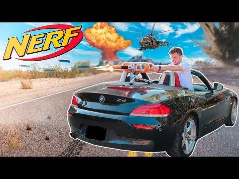 NERF WAR: DEFEND THE BASE!! NERF CAR TURRET
