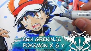 Ash Greninja Pokemon X Y Copic Fanart Timelapse