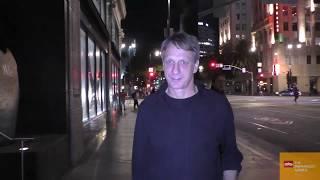 Tony Hawk shows off his autographed Bauhaus skateboard outside Katsuya in Hollywood