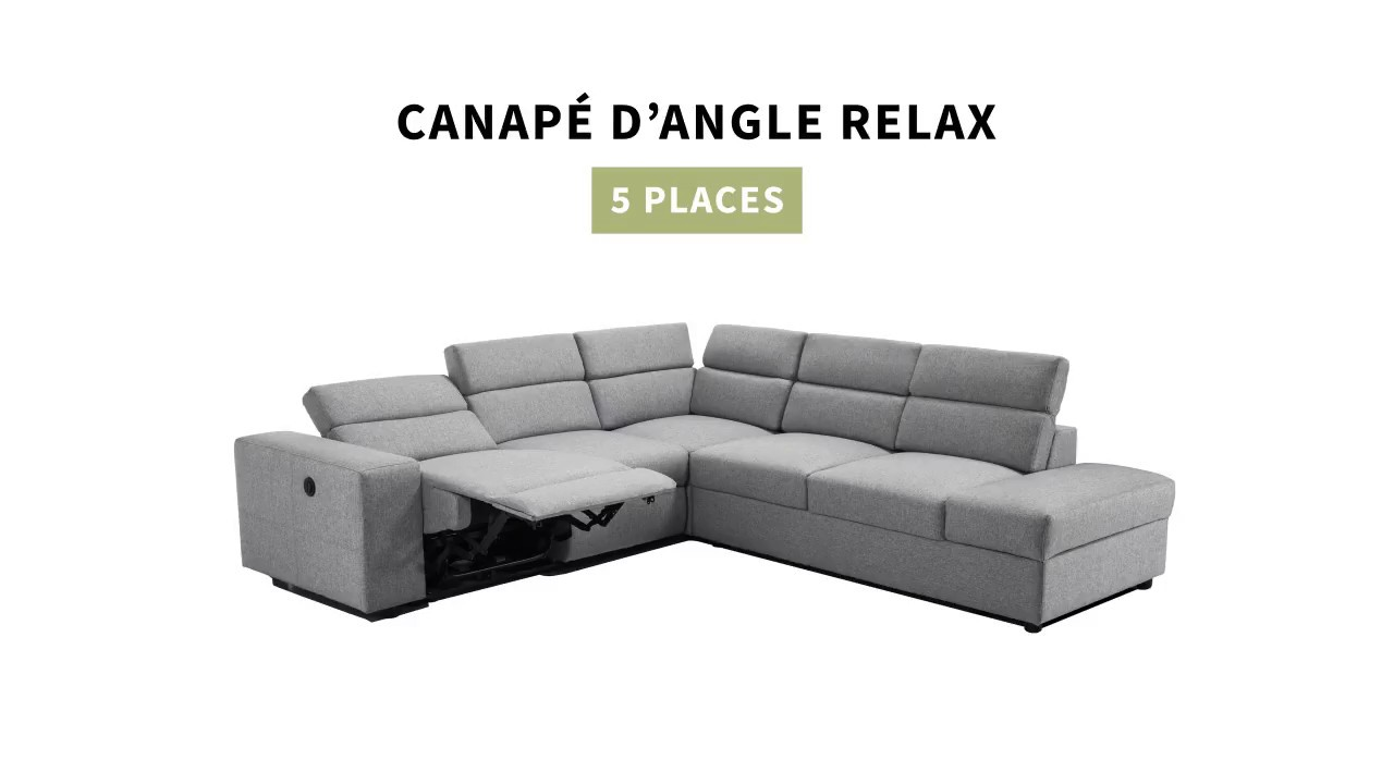 canap d 39 angle relax lectrique 5 places youtube. Black Bedroom Furniture Sets. Home Design Ideas