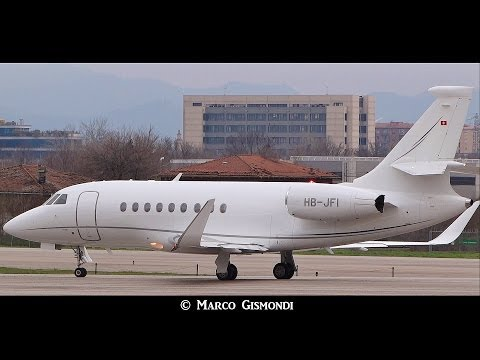 Awesome rocket take-off Private Falcon 2000EX from Bologna Airport