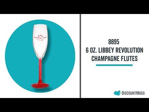Printed 6 oz  Libbey Revolution Champagne Flutes