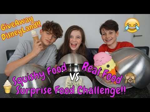 SQUISHY FOOD vs REAL FOOD vs SURPRISE CHALLENGE! met DISNEY GIVEAWAY (GESLOTEN) - Bibi