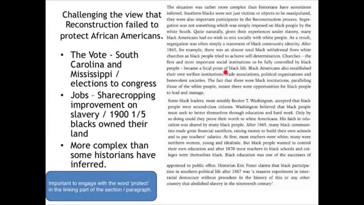 aqa new history a level hisk reconstruction failed to protect  aqa new history a level his1k reconstruction failed to protect african americans essay plan