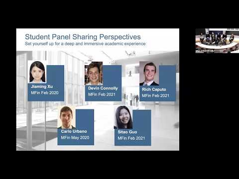 MIT Sloan: MFin Student Experience Panel 2019