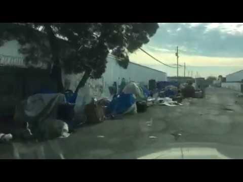 Homeless encampments on Second Street in Berkeley just above Cedar