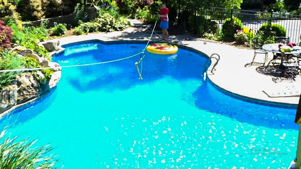 How to make a zipline into a pool! Backyard Zipline! - YouTube