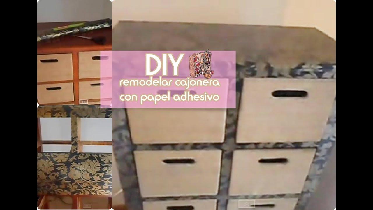 DIY Remodelar una cajonera con papel adhesivo // reciclado // facil ...