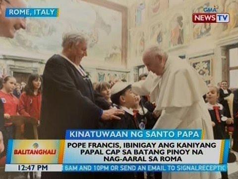 BT: Pope Francis, ibinigay ang kaniyang Papal cap sa batang Pinoy na nag-aaral sa Roma