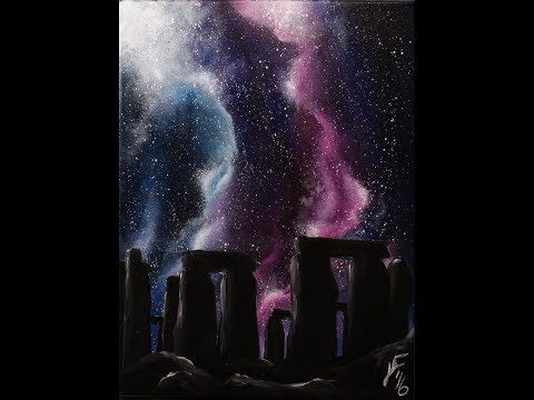 Starry Night at Stonehenge Step by Step Acrylic Painting on Canvas for Beginners